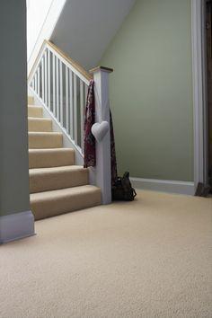 neutral carpet / green walls