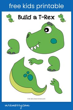 Build your very own dinosaur with our 1-page dinosaur craft. A great craft for preschool or kindergarten students. Free teacher resources. #kindergartenactivities #preschoolactivities #kindergartenworksheets #trexcrafts #dinosaurparty #birthdayparty #dinosauractivities #mrsmerry Dinosaur Crafts For Preschoolers, Dinosaurs Preschool, Free Activities For Kids, Dinosaur Activities, Learning Activities, Dinosaur Printables, Preschool Printables, Preschool Ideas, Preschool Crafts
