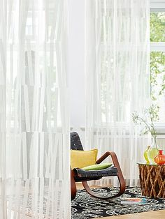 Light, summery patterns with transparency and opaqueness. GROVE's opaque Scherli stripes are grouped into abstract pat-terns on a transparent backdrop -available in four shades of white and sand.