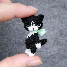 """This tiny Cat is hand-crocheted from cotton yarn and stuffed with non-allergic fiberfill. Kitten will arrive to you packed in a gift-bag. You can choose other colors for your toy. Toy is about 2"""" tall. You can move his head, arms and legs. Very cute addition to your dollhouse and a nice gift for doll's and miniature's collectors or anyone who loves cute things. Each order is carefully packed with Eco friendly materials. So you may recently gift it, or just enjoy it yourself! Tiny Cats, Hand Crochet, Cool Toys, Best Gifts, Kitten, Plush, Miniatures, Cute Kittens, Kitty"""