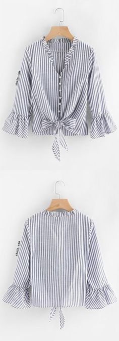 Contrast Striped Knotted Hem Frill Blouse Source by madhya_agency Hijab Fashion, Fashion Dresses, Fashion Shirts, Frill Blouse, Mode Hijab, Mode Vintage, Diy Clothes, Dress Patterns, Blouse Designs
