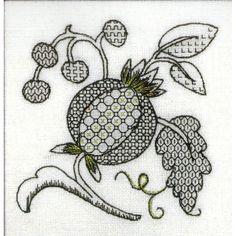 blackwork fruit and leaves - gold highlights