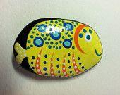 Hand Painted Rock  Fish Magnet OOAK
