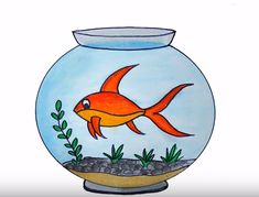 How to draw aquarium easy step by step with this how-to video and step-by-step drawing instructions. Easy animals to draw cute for children. Fish Tank Drawing, Fish Drawing For Kids, Aquarium Drawing, Children Drawing, Crayon Drawings, Fish Drawings, Art Drawings Sketches, Cute Drawings, Oil Pastel Drawings Easy