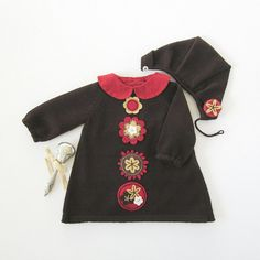 Knitted baby dress cap in brown with felt flowers by tenderblue, $80.00