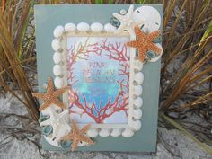 Beach Decor Sea Shell Frame with Starfish by PinkPelicanDesigns, $54.00