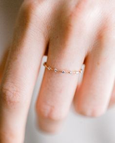 Petite Diamond Distance band in 14k yellow gold ⭐️ Back in stock at melaniecasey.com