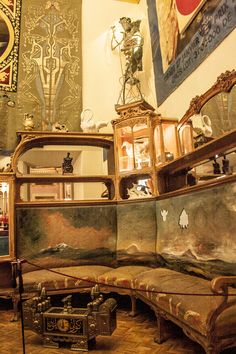 Salvador Dali bedroom, Cadaques, Spain by Frank Turner. Notice tapestry hanging on wall top left.