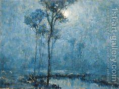 Moonlit Landscape - Granville Redmond - Oil Painting Reproductions