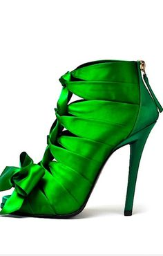 Green, satin ribbon, open toe, sandal bootie by Roger Vivier…**