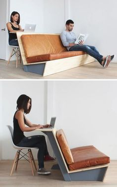 Machen Sie diese moderne Couch, die auch als Schreibtisch dient In this tutorial for a modern DIY couch, you'll learn how to make a couch with a wooden frame and leather cushions, also called … Diy Sofa, Diy Furniture Couch, Smart Furniture, Space Saving Furniture, Pallet Furniture, Modern Furniture, Furniture Design, Furniture Stores, Furniture Ideas