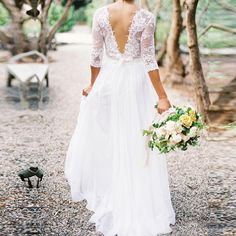 Find More Wedding Dresses Information about 2016 Spring Vintage Chiffon Bridal Dresses V neck Three Quarter Sleeves Low Back A line Boho Wedding Lace Dress With Pleats,High Quality dress clothes for babies,China dressed down Suppliers, Cheap dresses evening dresses from SuZhou Louise Trading Co.,LTD on Aliexpress.com
