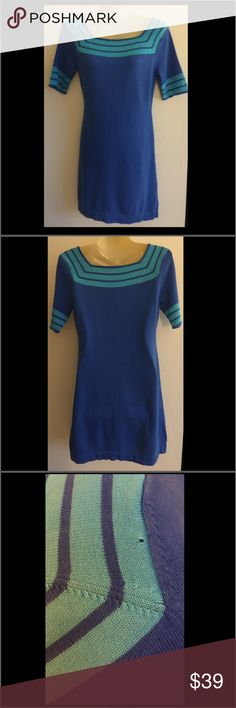 Trina Turk dress Beautiful lightweight sweater dress. Mini. Size S. Light your quotes/blue stripes on sleeves and neckline. So adorable! Has one small flaw on the back shown in 3rd pic. Super soft material of viscous/cotton blend. Trina Turk Dresses Mini