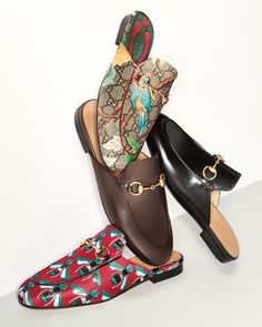 """Gucci """"Princetown"""" mule slipper, reintroduced in overprinted GG supreme canvas. 0.5"""" flat heel. Rounded apron toe with red leather piping. Golden horsebit detail. Leather outsole. Slightly cushioned l"""