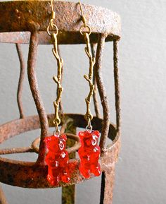 Red Gummy Bear EarringsRed bear and Antique by OutStandingStands, $25.00