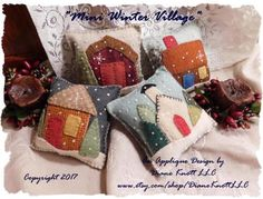 Scrappy Mini Winter Village - a little scrap, take-along project that is an applique pattern instant download. Its not a finished product. All FOUR of the designs are included in the pattern. You can make whatever you like from my pattern. They would also be adorable framed - what fun!