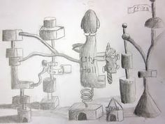 """The 4/5s learned how to draw 3-d forms and include shading and shadows.  They stacked these shapes to make a ""secret city"".    I got this idea from a book about drawing by Mark Kistler."""