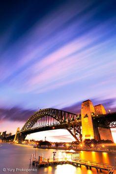 Sunset over Harbor Bridge in Sydney Harbour, Australia