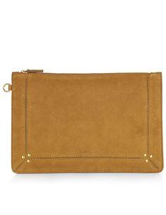 JÉRÔME DREYFUSS Mustard Goatskin Leather Clutch Bag. #jérômedreyfuss #bags #leather #clutch #lining #cotton #hand bags #