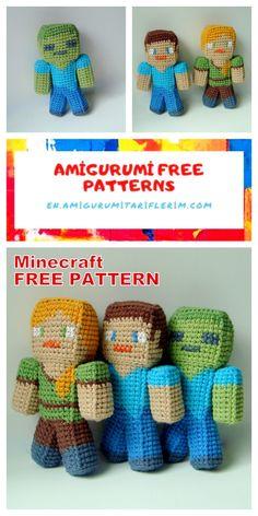 Minecraft Crochet Patterns, Minecraft Pattern, Crochet Amigurumi Free Patterns, Crochet Dolls, Ravelry Crochet, Crochet Game, Crochet Gifts, Cute Crochet, Minecraft Pillow