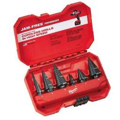 Step drill bits have measurements in millimeters or inches and are made of high speed steel, cobalt or titanium. Here is some additional information about Milwaukee Step Drill Bit Set. Material: HSS, Finish: black oxide, Number Of Pieces: Milwaukee Drill, Milwaukee Tools, Home Tools, Diy Tools, Step Drill, Drill Bit, Plumbing Tools, Plumbing Solder, Water Plumbing