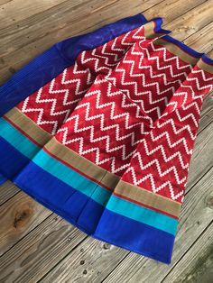 Art Silk Printed Ikkat Saree in Red, White and Blue