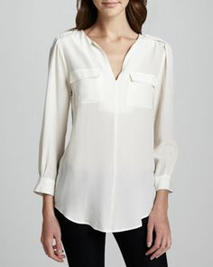 Marlo Silk Double-Pocket Top, Porcelain by Joie at Neiman Marcus.