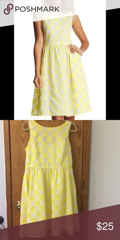 Yellow Polkadot Dress Loft Yelow and White Polka dot dress in great condition. Only wore a few times and now it's too big because I lost weight LOFT Dresses Midi