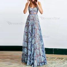 Modern Blue Lace Prom Dress - Spaghetti Straps Sleeveless Floor-Length Backless
