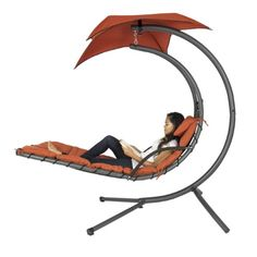 Hanging Chaise Lounger Chair with Canopy, Orange