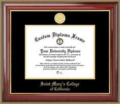 Saint Mary's College of California Diploma Frame - Gold Medallion - Mahogany Gold Trim