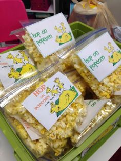 Dr. Seuss snacks - hop on popcorn, Lorax oranges, etc.