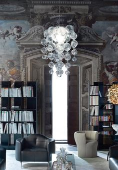 APOLLONIO By Borek Sipek 2009 Suspension lamp. in brass and chromed steel. Blown glass spheres.