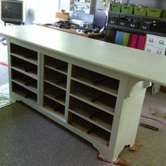 take old dresser and remove drawers and doors. dresser turned craft table with paint how to. Brother has the dresser I want to add top too to make craft table Craft Room Storage, Room Organization, Craft Rooms, Craft Tables With Storage, Craft Room Tables, Craft Desk, Craft Space, Kitchen Storage, My Sewing Room