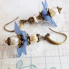 Romantic denim blue with ivory flower earrings  #handmade #jewelry #flower #earrings #denim #blue #rustic #crafts #craft #floral #romantic #etsyshop #etsy #romanticcrafts #giftideas #weddings #bridesmaid #womens #forher