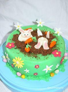 Easter cake, gâteau de pâques décoration originale, gâteau easter rabbit cake, gâteau lapin de paques, cake design