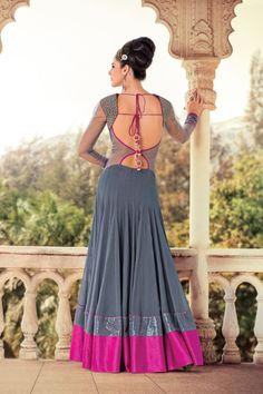 Picture of Gorgeous grey anarkali suit