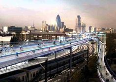 cyclist utopia, skycycle, norman foster, foster + partners, london, bicycle commuting, urban cycling, cyclist fatalities, cycle safety, car-...