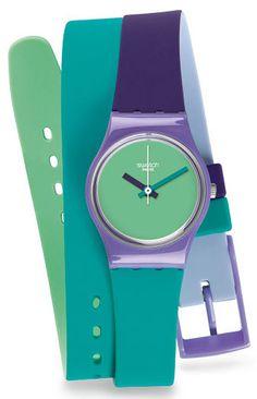 zegarek pastelowy niebieski zielony fioletowy Swatch LV117 Fun in Blue