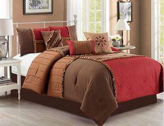 JBFF 7 Count Luxury Bed in Bag Microfiber Comforter Set, Burgundy, Queen