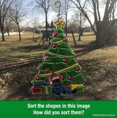 Holiday Sort – Math Before Bed December 7, Christmas Tree, Christmas Ornaments, Sorting, Shapes, Math, Holiday Decor, Bed, Spirit
