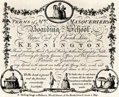 Trade card for Mrs Masquerier's Boarding School, Upper End of Church Lane, Kensington. Board, including French, English, Writing, Arithmetic, Geography, Needlework, and Dancing. 20 guineas a Year and 1 guinea Entrance.