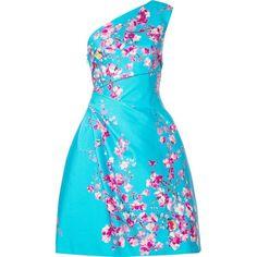 Monique Lhuillier Single Shoulder Dress ($2,495) ❤ liked on Polyvore featuring dresses, monique lhuillier, off one shoulder dress, single shoulder dress, aqua dresses and aqua blue dress