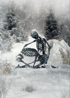 The Cold Embrace of Winter.The Art of Dan Verkys Skeleton Love, Skeleton Art, Memento Mori, Dark Fantasy, Fantasy Art, Grim Reaper Art, Art Of Dan, Badass Skulls, Day Of The Dead Skull