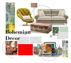 """Bohemian decor"" by xoxo-jess-xoxo ❤ liked on Polyvore featuring interior, interiors, interior design, home, home decor, interior decorating, Parvez Taj, Giclee Glow, Andrew Martin and Graham & Brown"