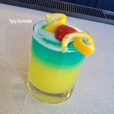 Lick Her Right LICK HER RIGHT 1 oz. (30ml) Orange Vodka 1 oz. (30ml) Peach Schnapps 6 oz. (180ml) Pineapple Juice Top with UV Blue Vodka Strawberries *Two Servings