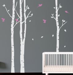 Tree with birds Wall Decal. Wall Sticker. Vinil wall decal. Birch trees.