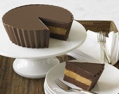 Peanut Butter Cup Cake    This looks like it wouldn't be too difficult to figure out how to make, except maybe how to mold the corrugated sides. Anyone have ideas for that?