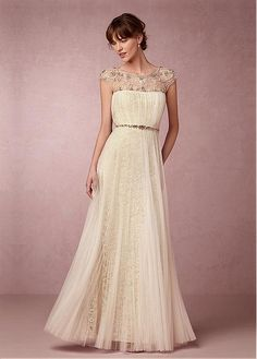 Fabulous Tulle & Lace Scoop Neckline Sheath Wedding Dresses with Beadings…
