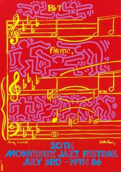 "Lot Keith Haring and Andy Warhol ""Jazz Festival"" Poster; printed signatures of Warhol lower left and Keith Haring lower right, published by Detroit Renaissance Foundation, advertising the 1986 Montreux, Detroit Jazz Festival; framed under glaze Festival Jazz, Montreux Jazz Festival, Festival Posters, Concert Posters, Music Posters, Art Posters, Jazz Concert, Travel Posters, Andy Warhol"